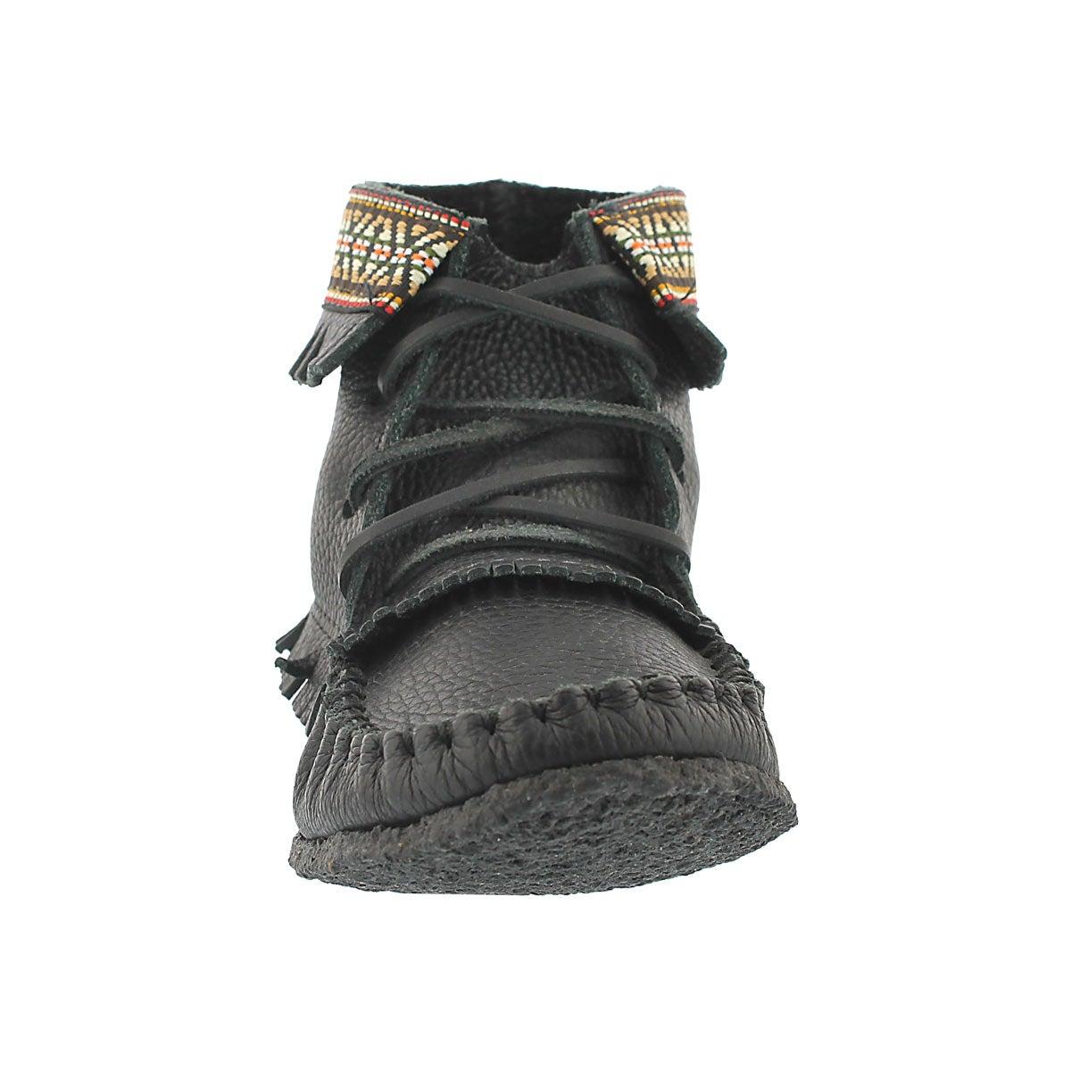 Lds black gum sole fringe bootie mocc