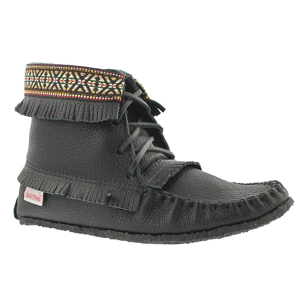 Women's 137597 black fringe bootie moccasins