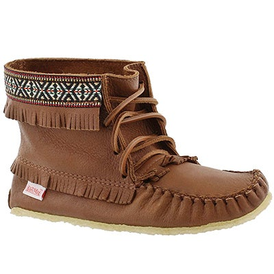 SoftMoc Women's 137597 maple moose fringe bootie moccasins