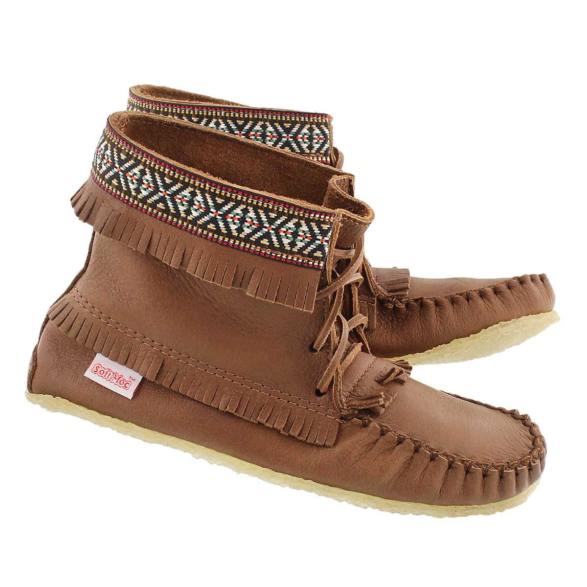 Bottine moc frange érable 137597, fem