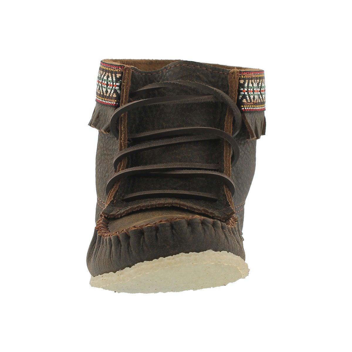 Lds bomber jckt brn fringe boot moccasin