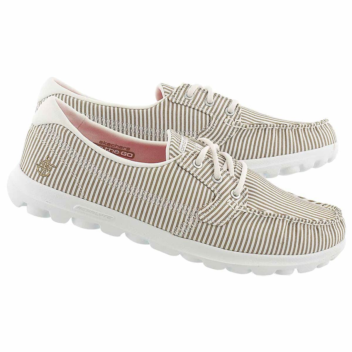 Lds Sandbar taupe striped boat shoe