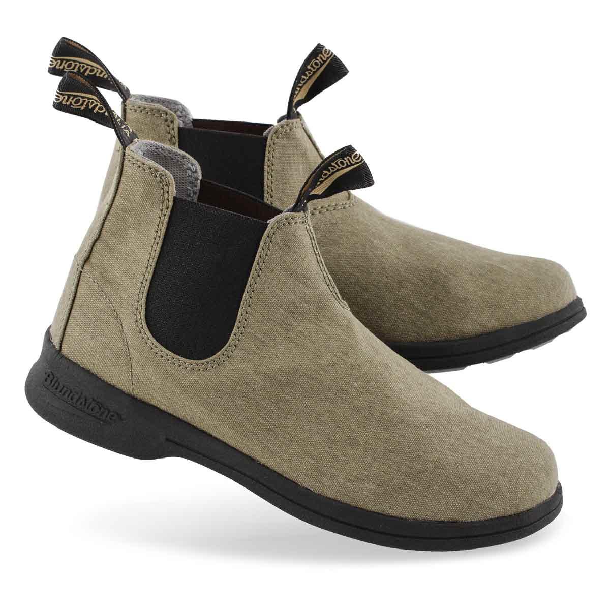 Unisex Canvas khaki pull on boot