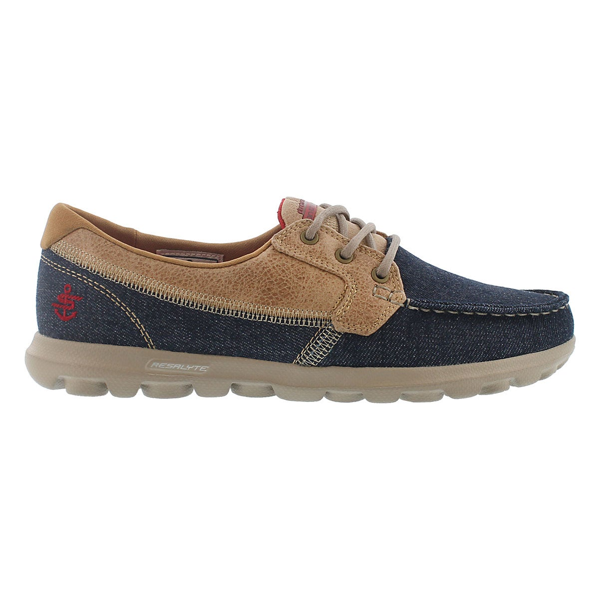 Lds Embark denim/taupe 3 eye boat shoe