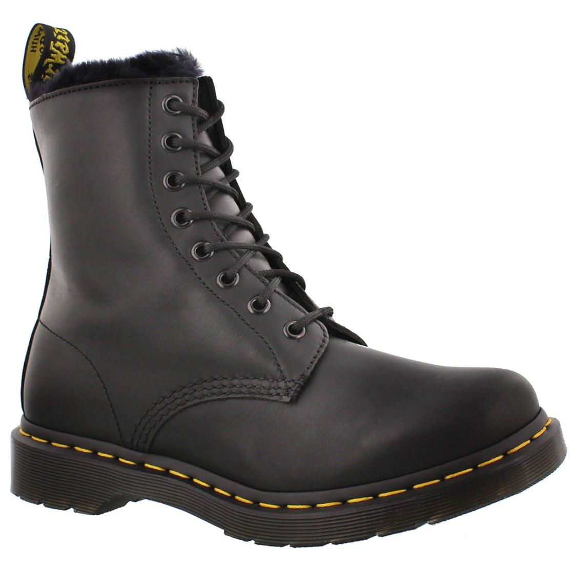 Women's SERENA 8-Eye black faux fur lined boots
