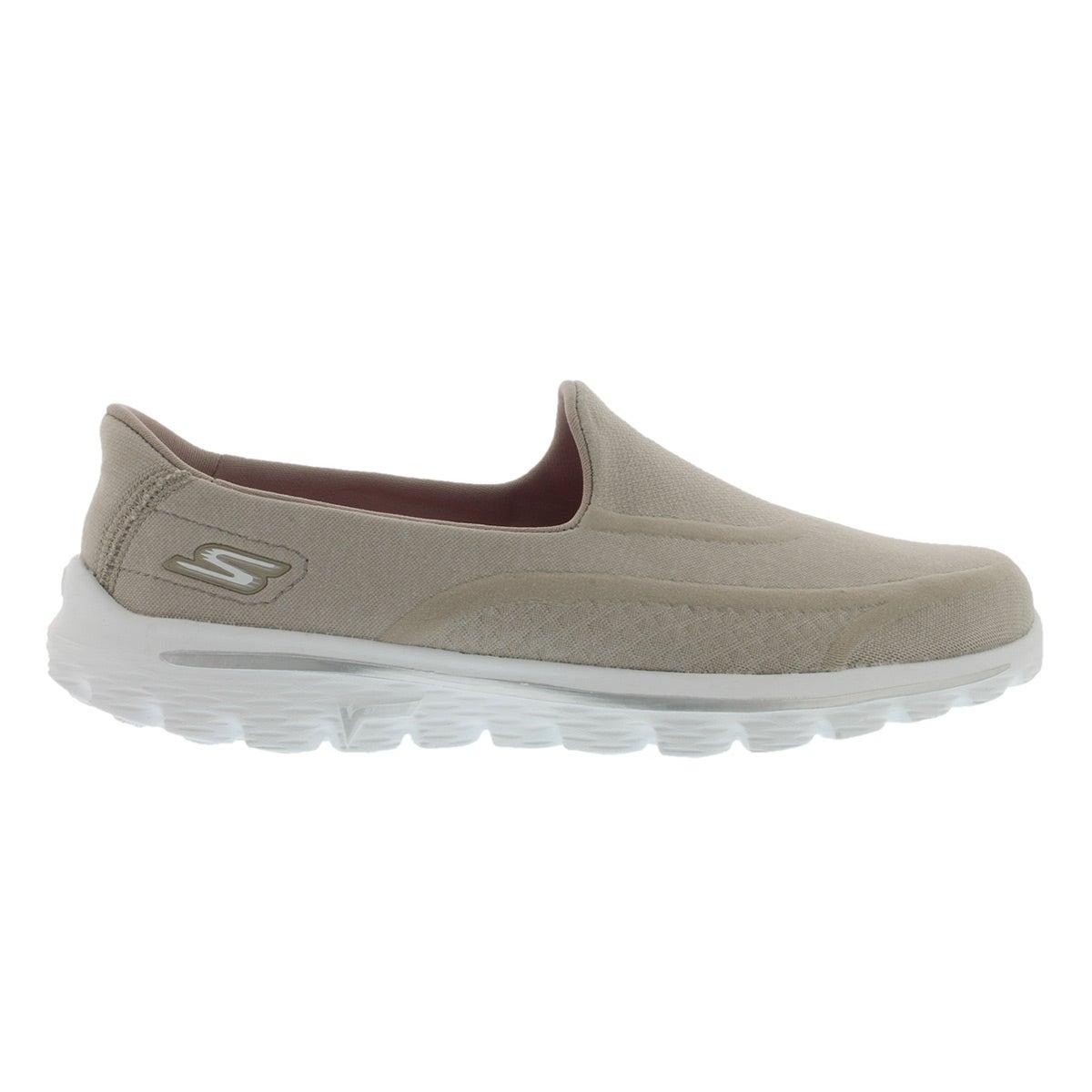 Lds GOwalk 2-Super Sock2 taupe slip on