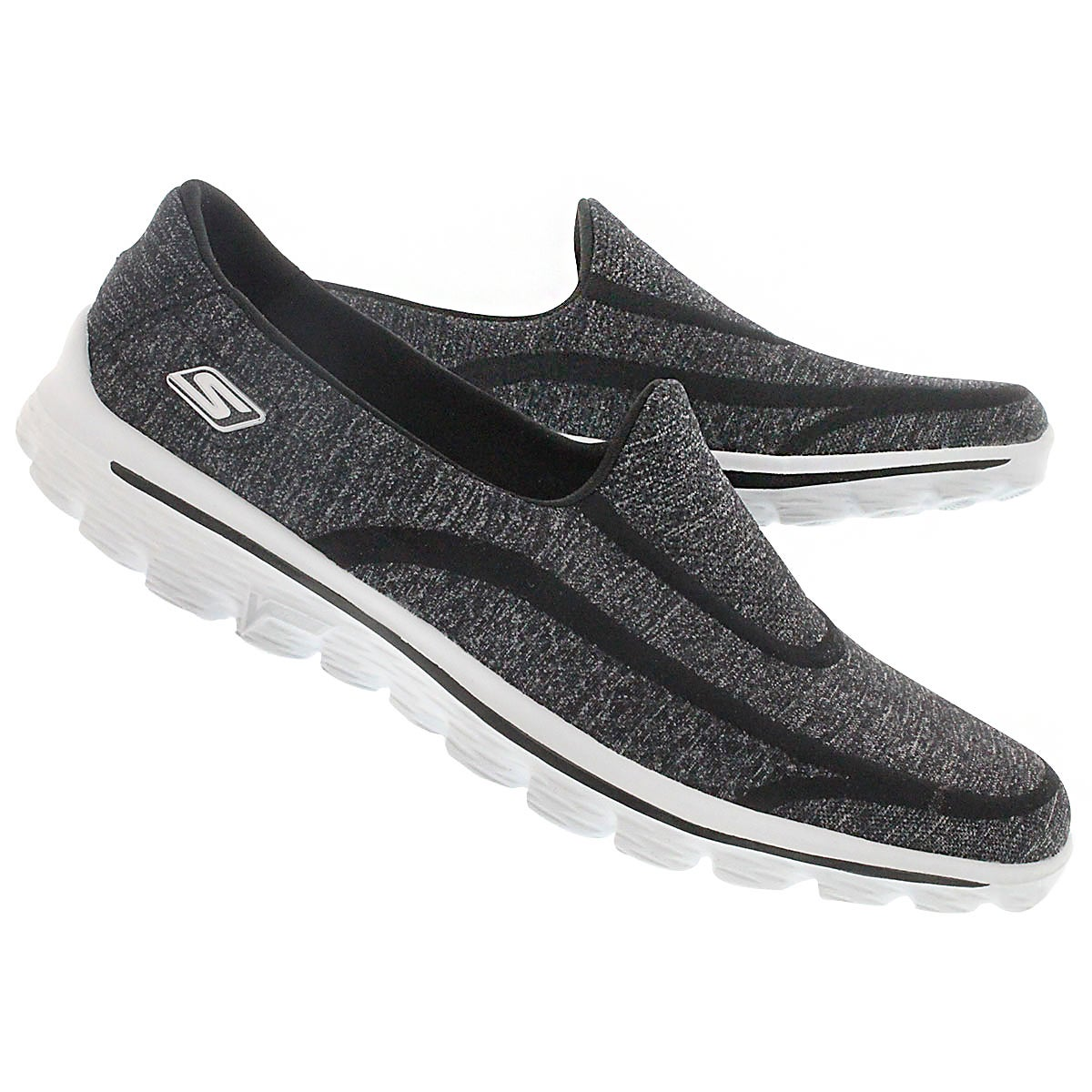 Lds GOwalk Super Sock blk/wht slip on