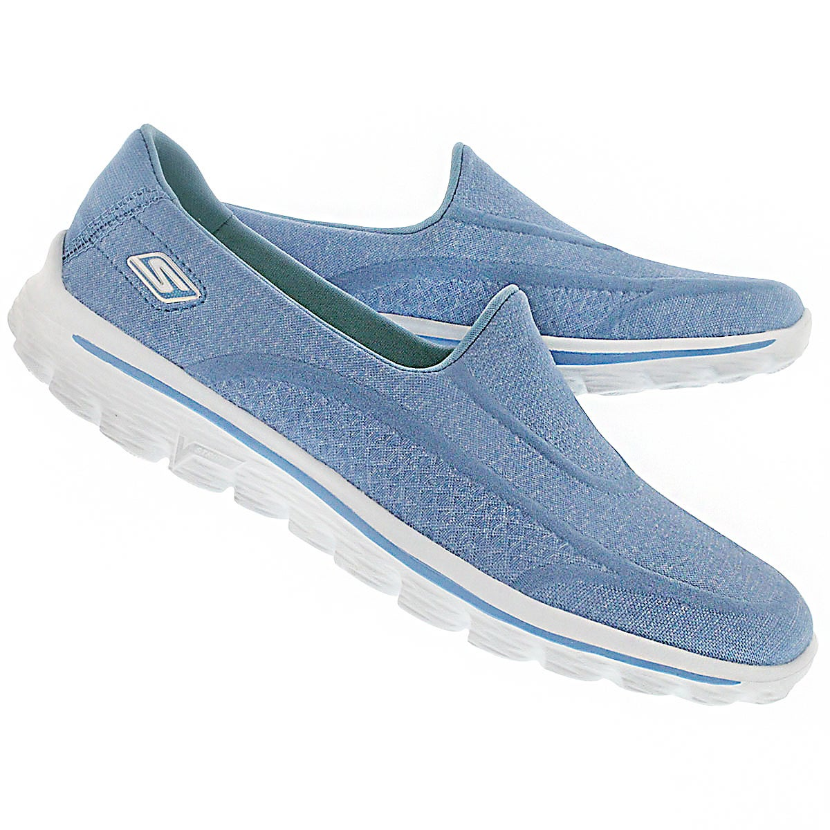 Lds GOwalk Super Sock blu/wht slip on