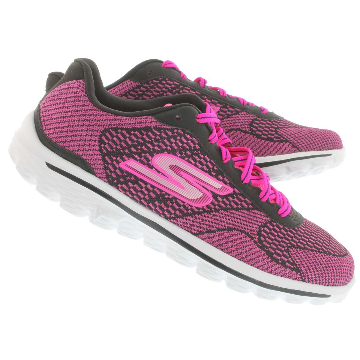 Lds GOwalk Fuse black lace up sneaker