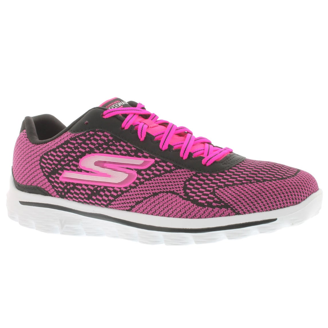 Women's GOwalk 2 FUSE black/pink lace up sneakers