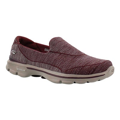 Skechers Women's GOwalk 3 SUPER SOCK burgundy walking shoes