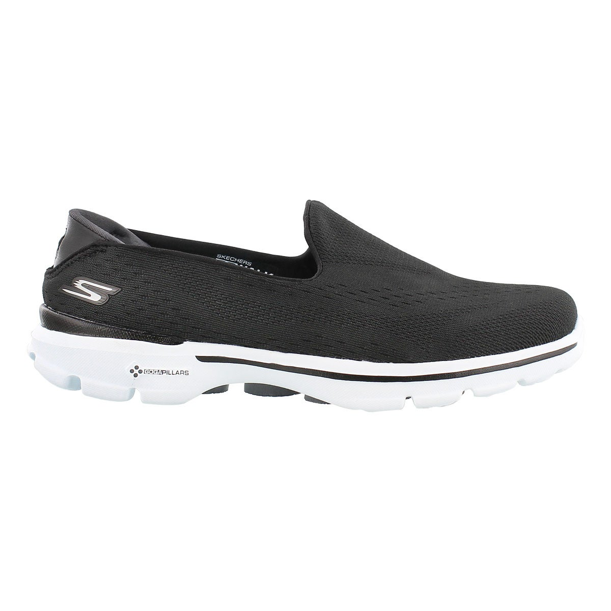Lds GOwalk 3 blk/wht slipon walking shoe