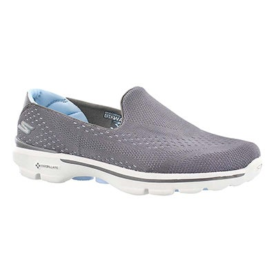 Skechers Women's GOwalk 3 grey/blue slip on walking shoes