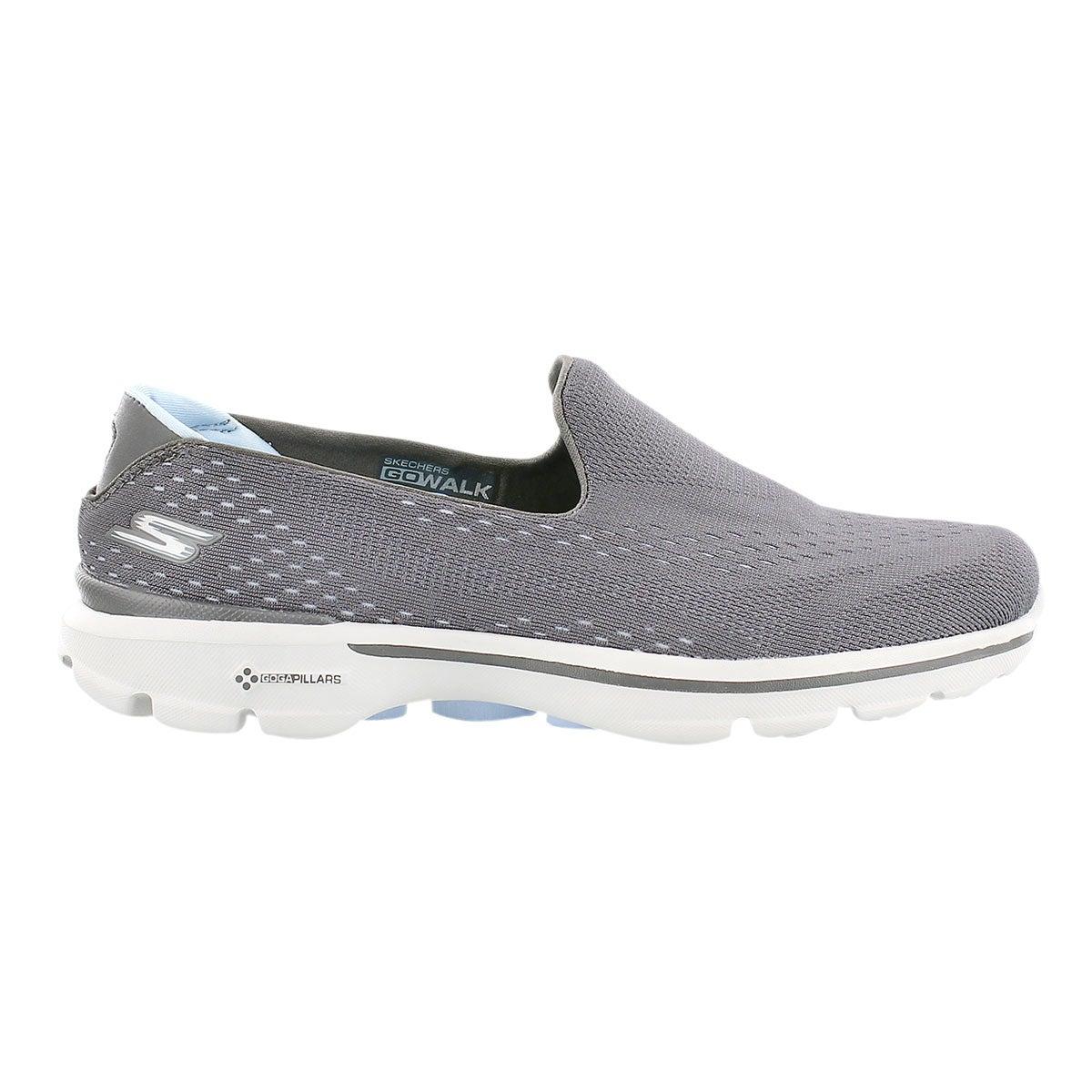 Lds GOwalk 3 gry/blu slipon walking shoe