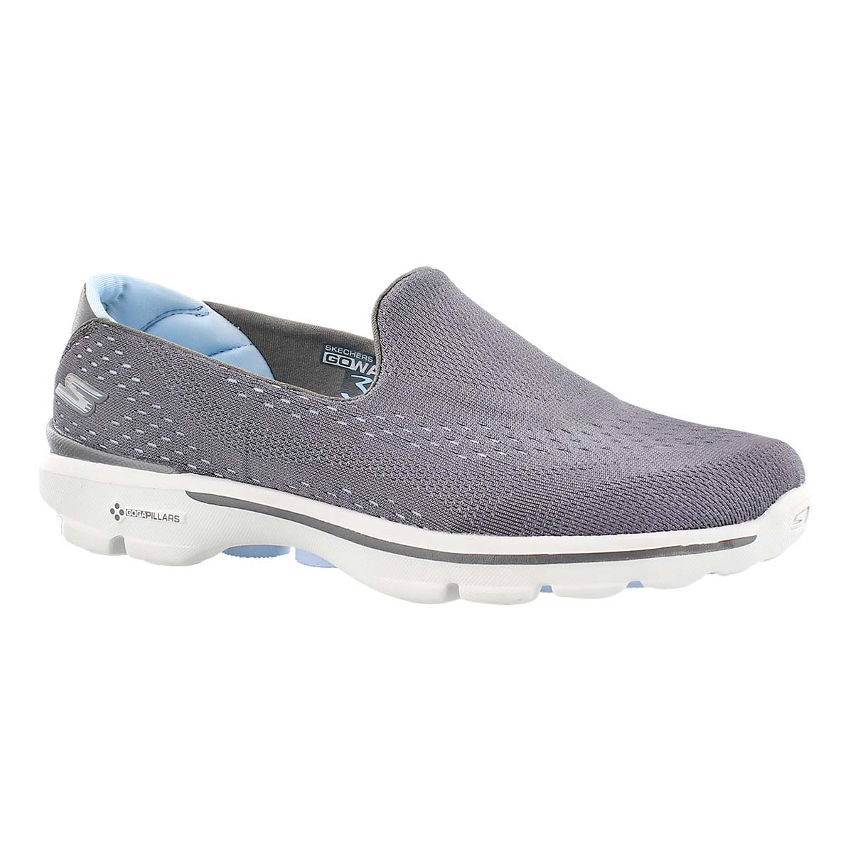 Lds GOwalk 3 gry/blu slipon walking shoe