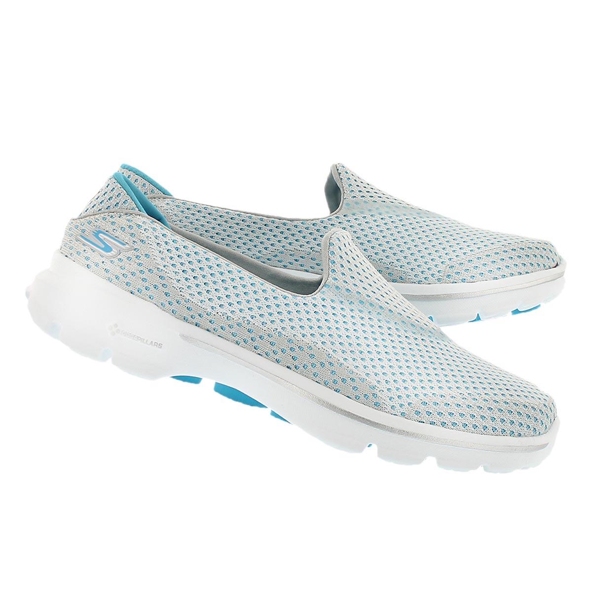 Lds GOwalk 3 wht/turq slip on sneaker