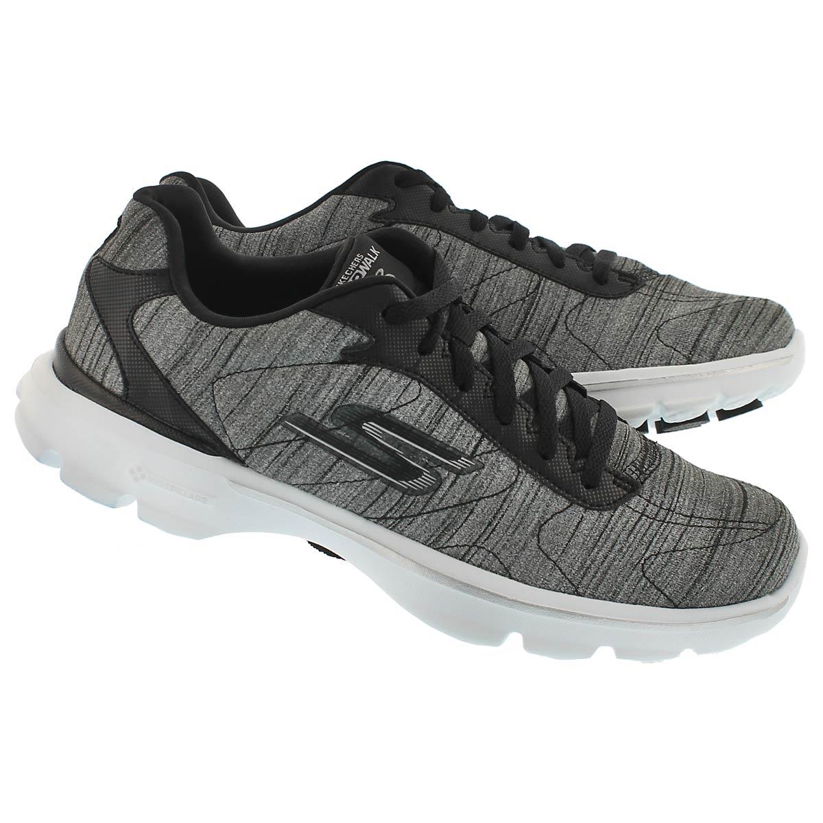 Lds GO Walk3 blk/wht laceup walking shoe