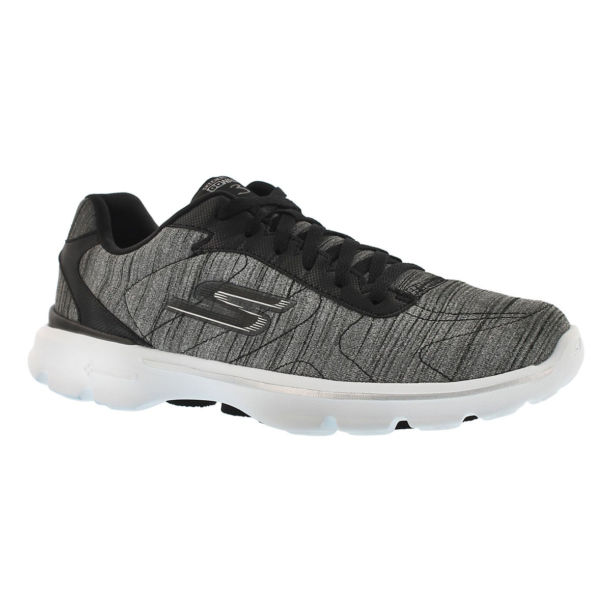 Lds GO Walk3 blk/wht laceup walking shoe