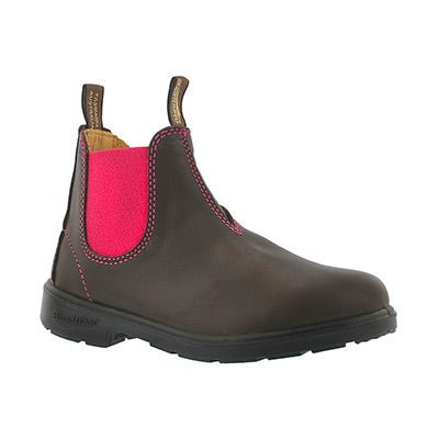 Blundstone Kids' BLUNNIES brown/pink pull-on boots -UK SIZING