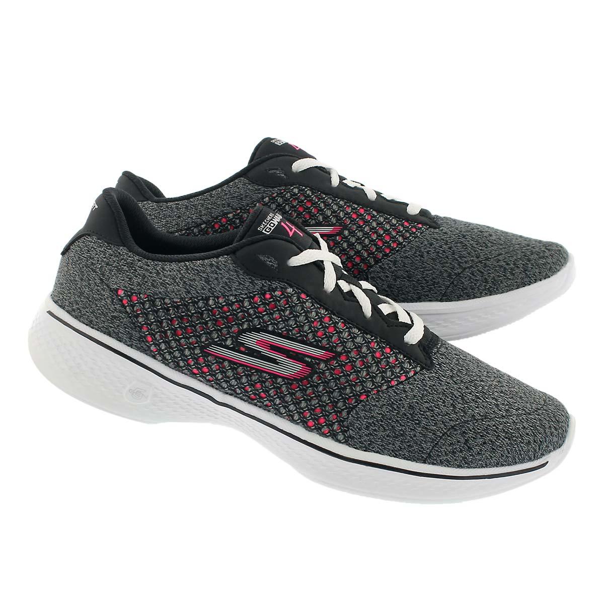 Lds GO Walk 4 Exceed bk/pk lace up shoe