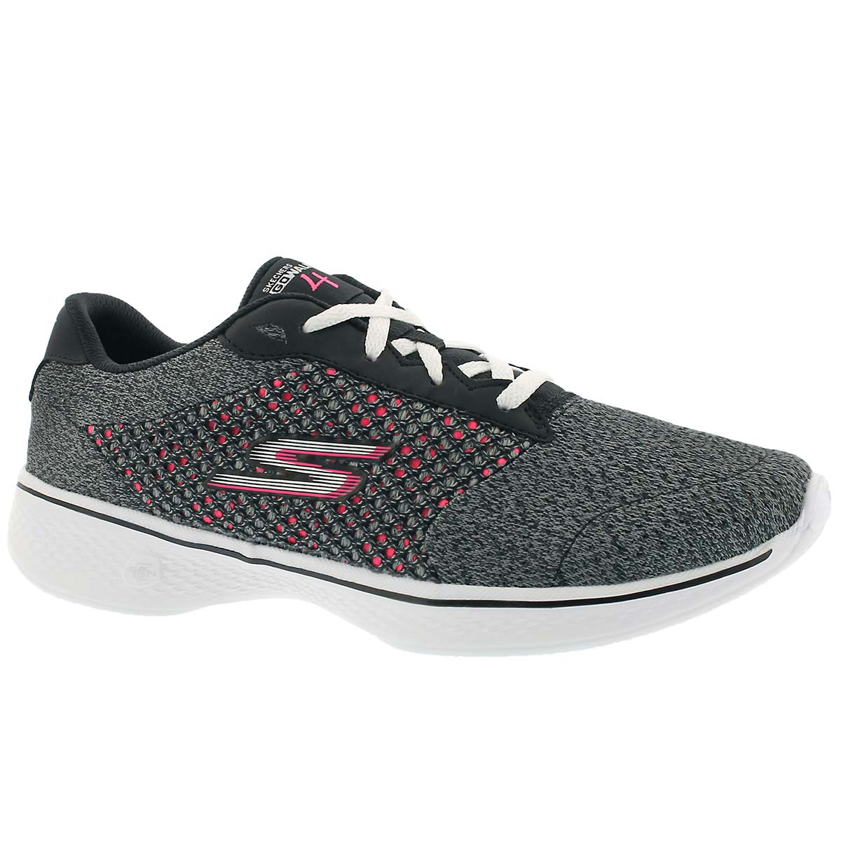 Women's GOwalk 4 EXCEED black/pink lace up shoes