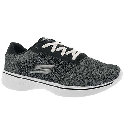 Lds GO Walk 4 Exceed bk/wt lace up shoe