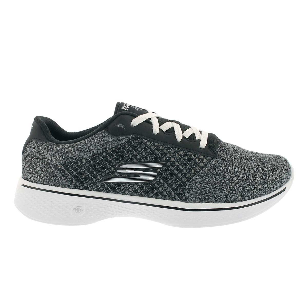 Lds GO Walk 4 Exceed bk/wt lace up shoe