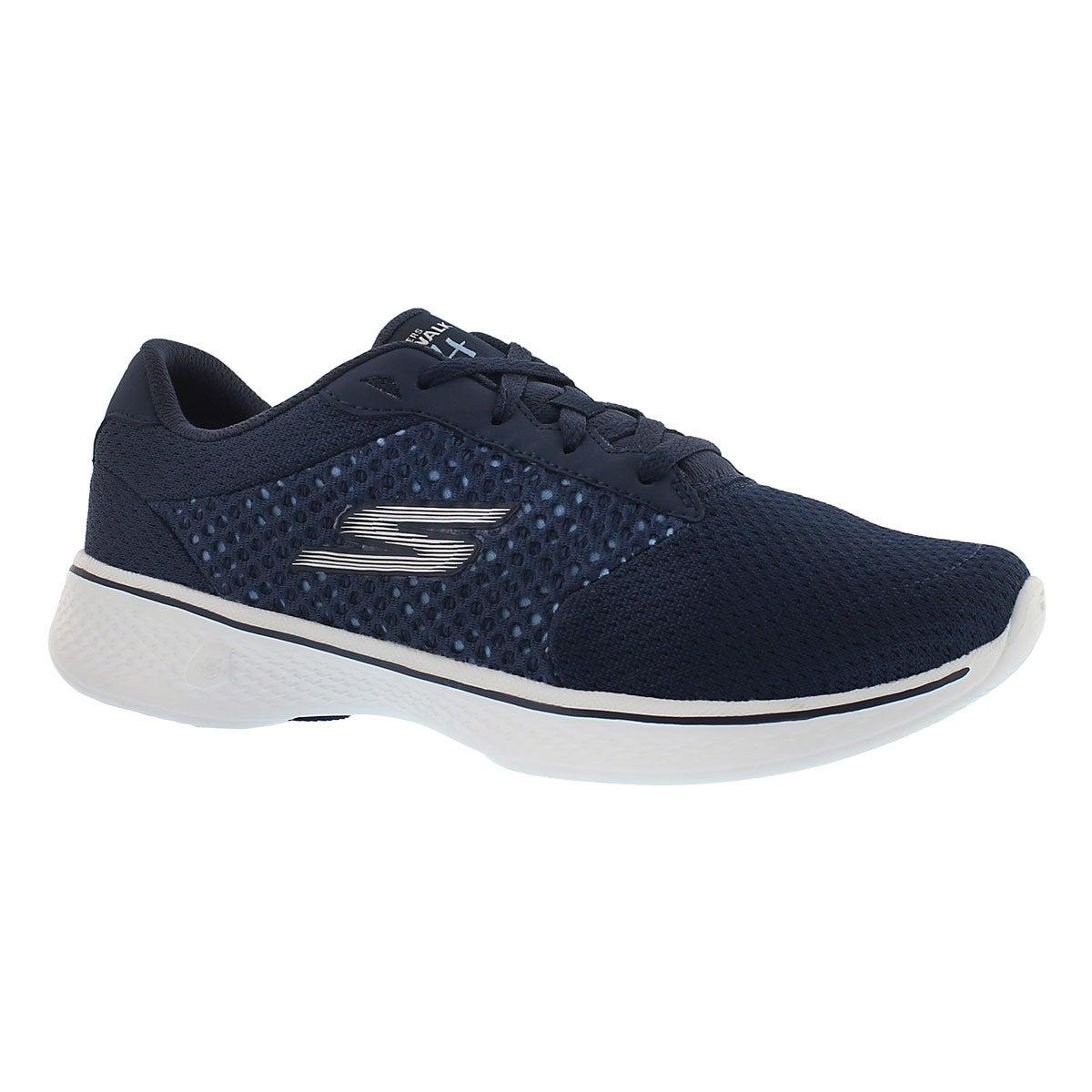 Lds GO Walk 4 nvy lace up walking shoe
