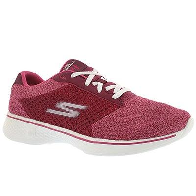 Skechers Women's GOwalk 4 raspberry lace up walking shoes