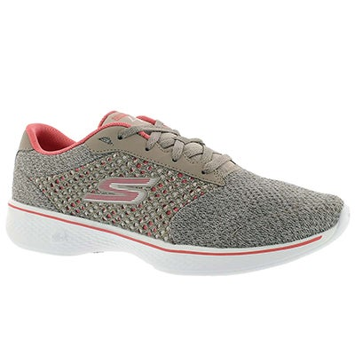 Skechers Women's GOwalk 4 EXCEED taupe/pink lace up shoes