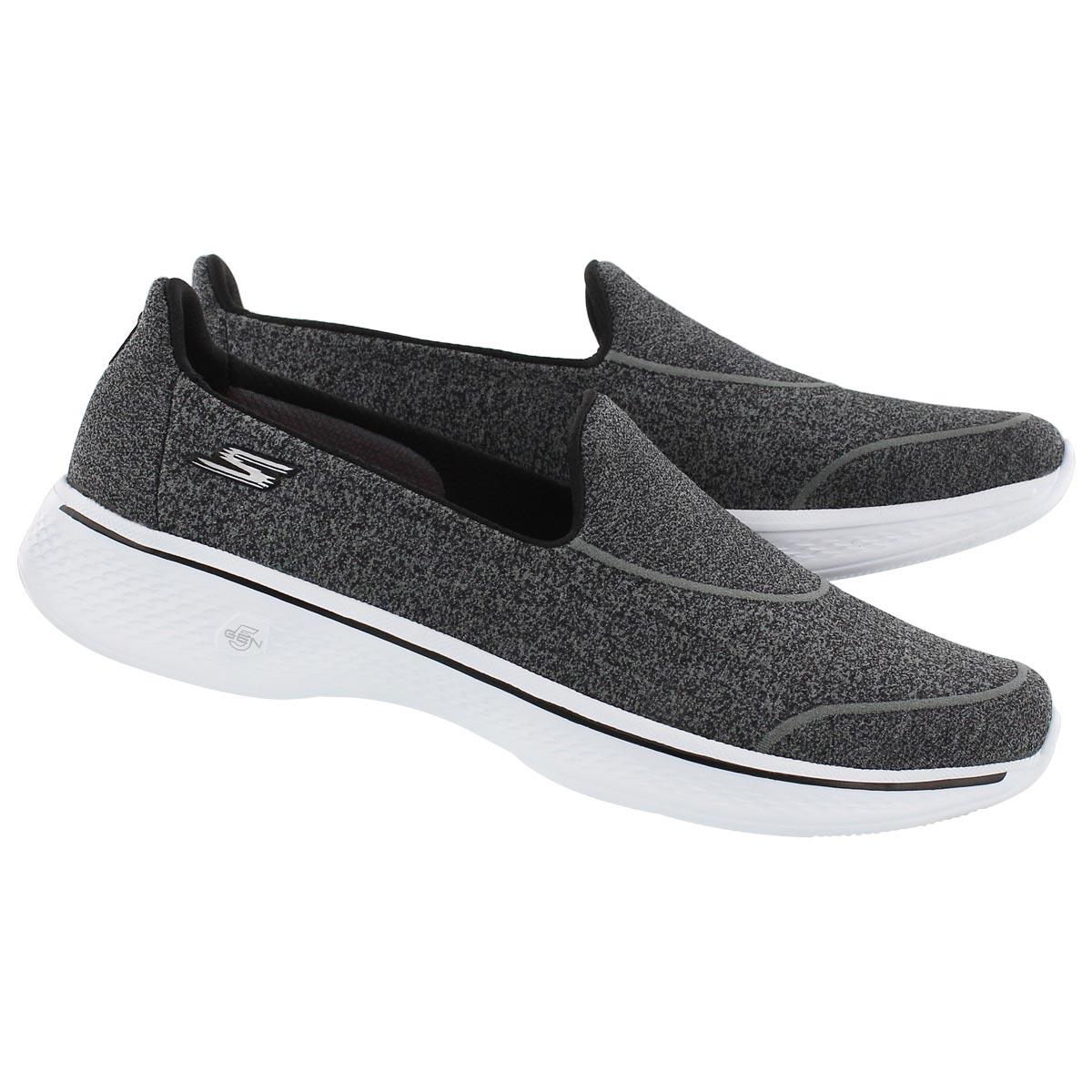 Lds GOWalk4 SuperSock bk/wt slip on shoe