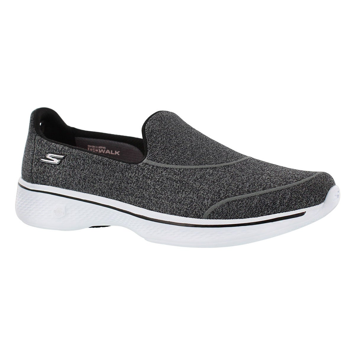 Lds GOWalk4 SuperSock bk/wt slip on shoe