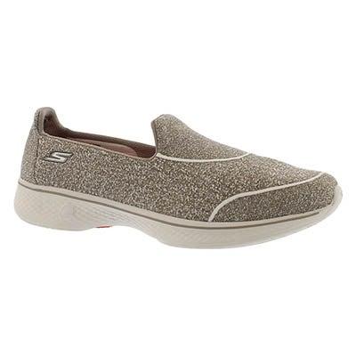Skechers Women's GOwalk 4 SUPER SOCK taupe slip on shoes