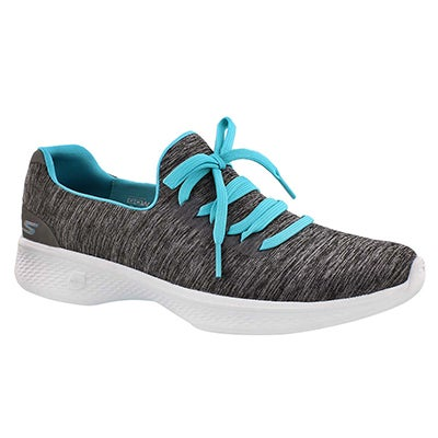 Lds GOwalk 4 gry/blu laceup walking shoe