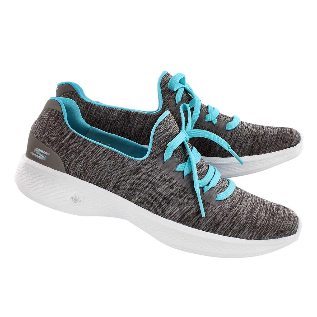 Lds GOwalk 4 gry/blu laceup walking shoe