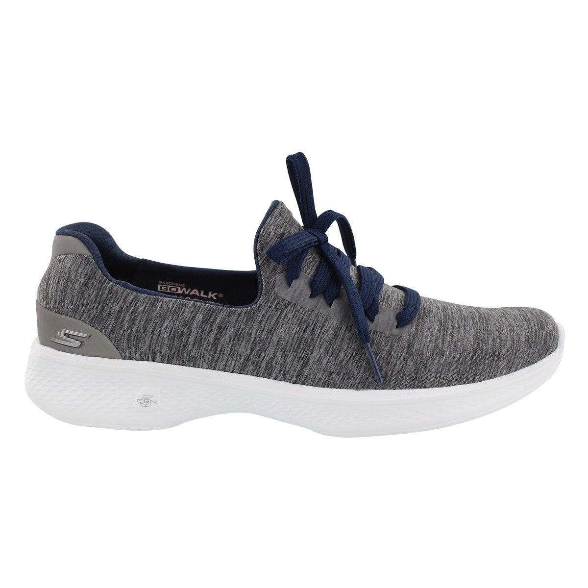 Lds GOwalk 4 gry/nvy laceup walking shoe