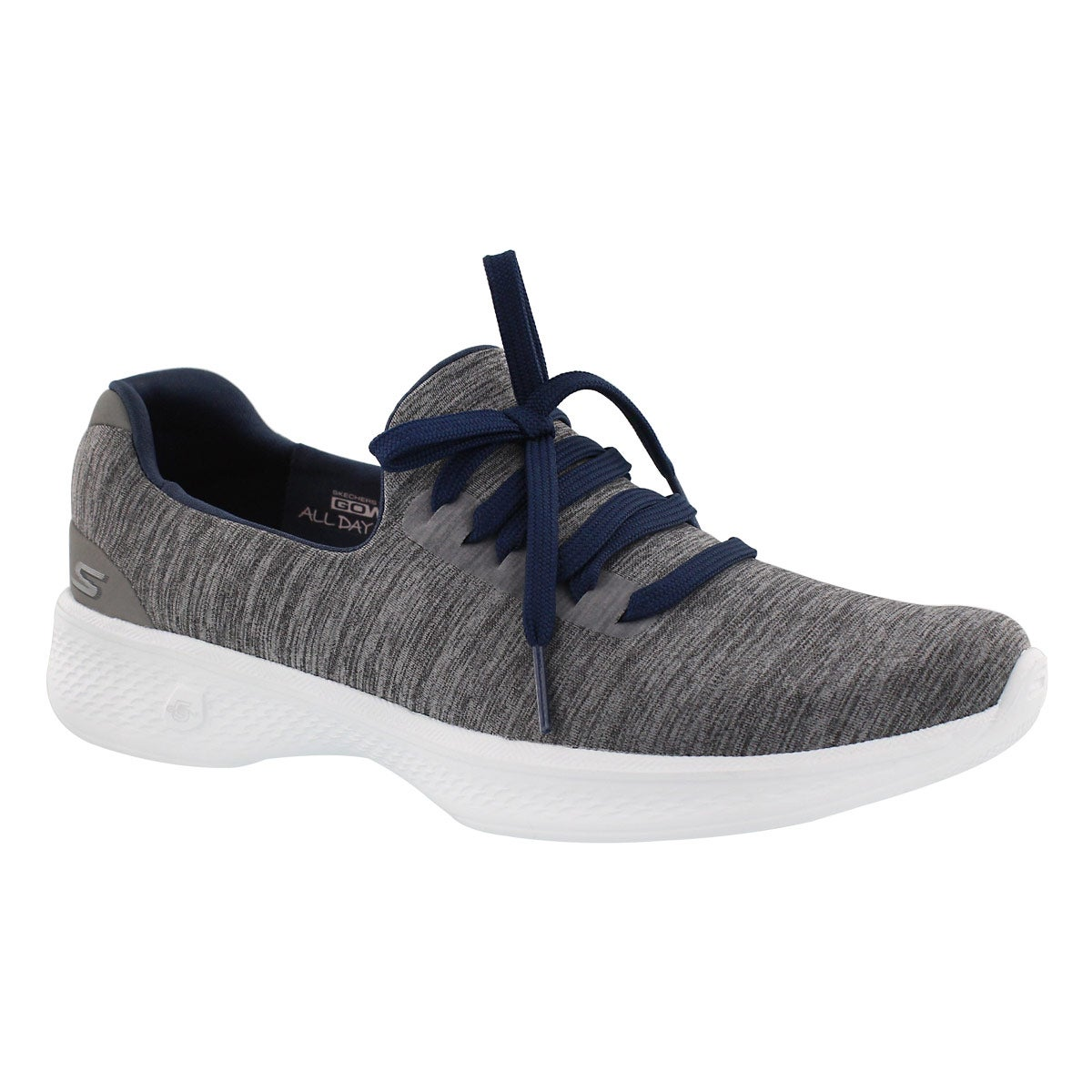 Women's GOwalk 4 grey/navy laceup walking shoes