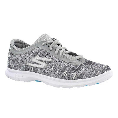 Skechers Women's GOstep grey/white laceup sneakers
