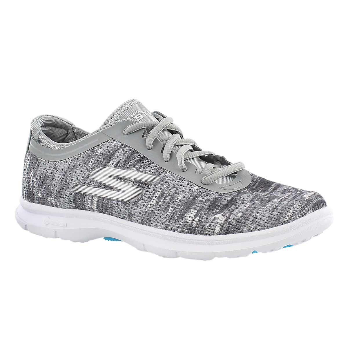 Lds GOstep gry/wht laceup sneaker