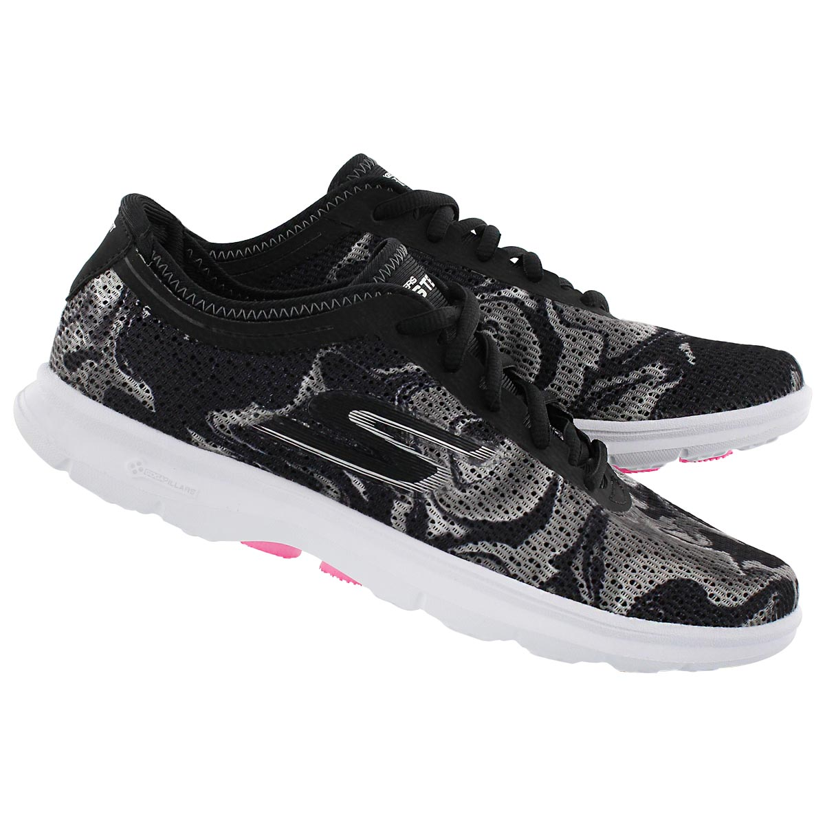 Lds Daze blk/wht marble print sneaker