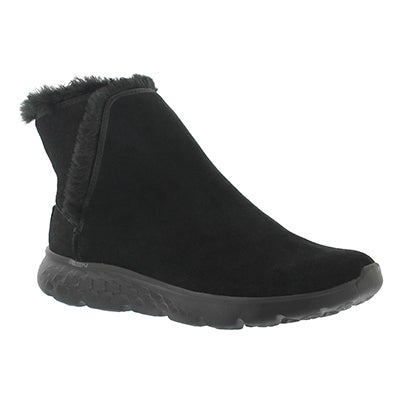 Lds 400 black pull on suede boot