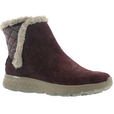 Skechers Women's 400 COZIE burgundy quilted suede boots
