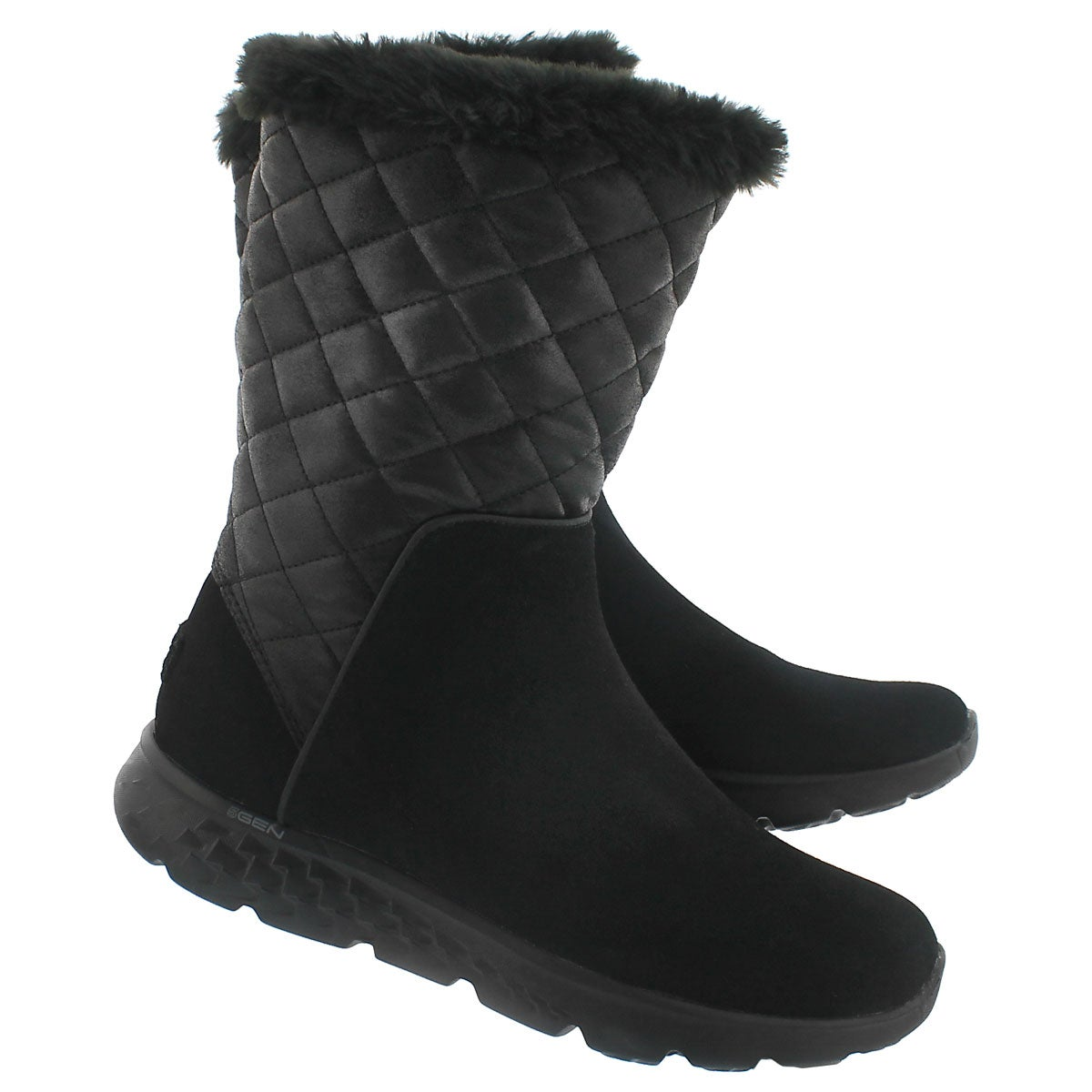 Lds 400 Snugly black quilted mid boot