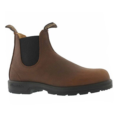 Mns pebbled brown twin gore boot