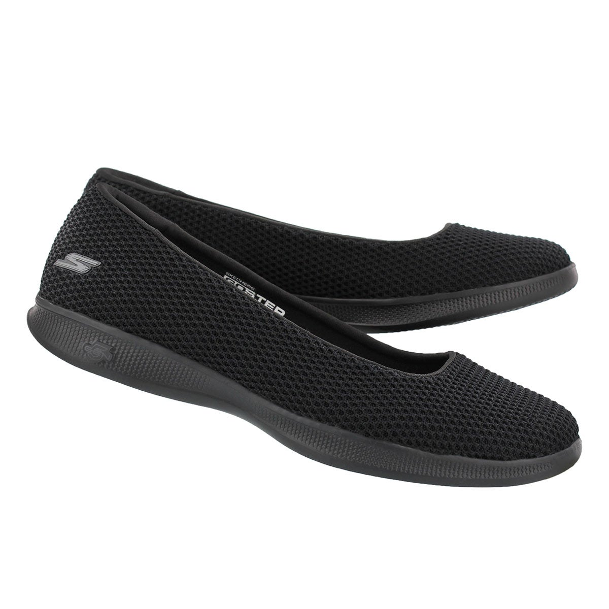 Lds GO Step Lite black knit casual flat