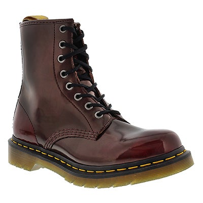 Dr Martens Women's VEGAN 1460 8-Eye red smooth boots