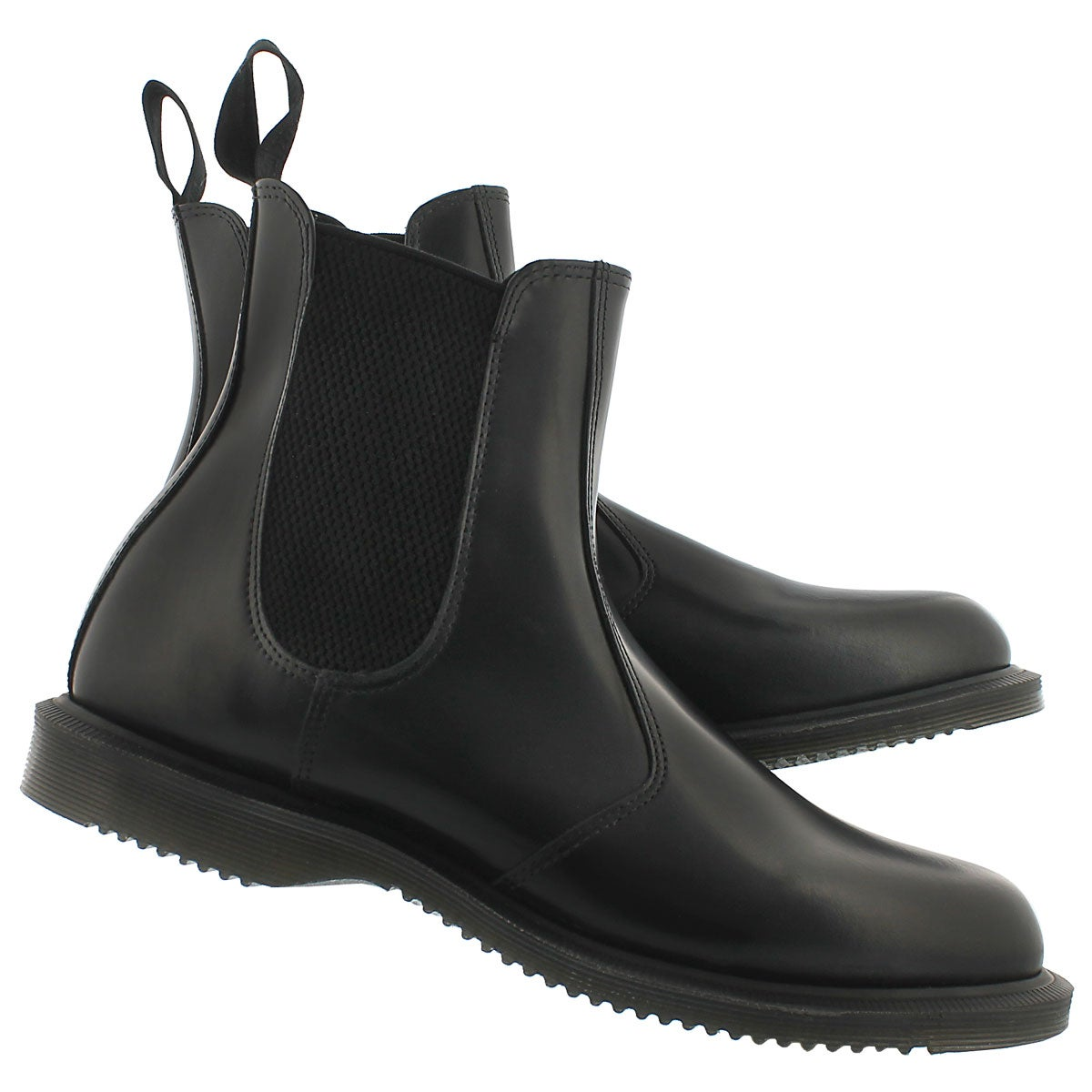 Lds Flora black pull on chelsea boot