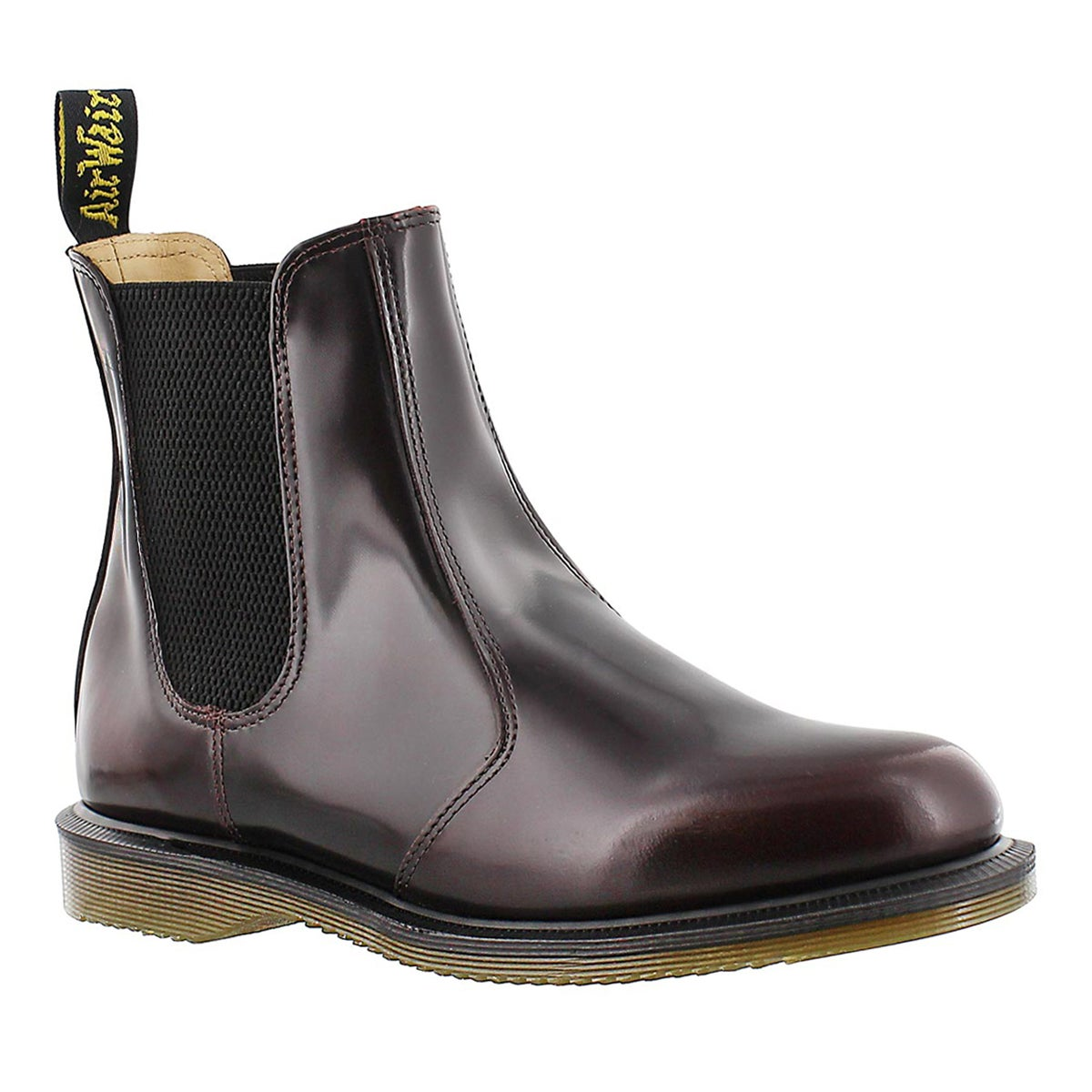Lds Flora red pull on chelsea boot