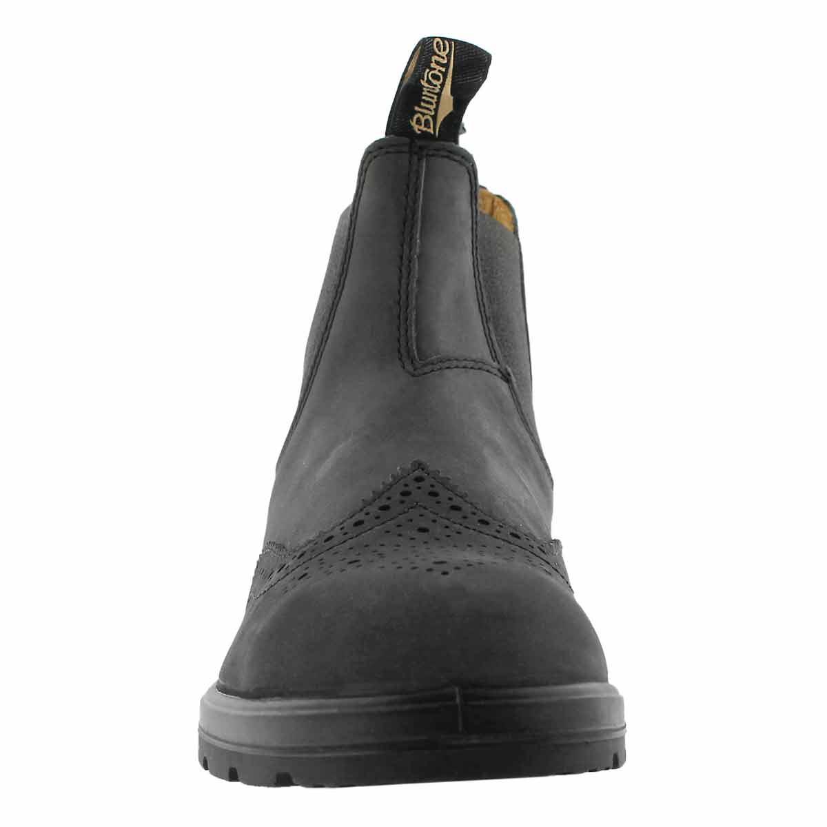 Unisex Brogue rustic blk twin gore boot