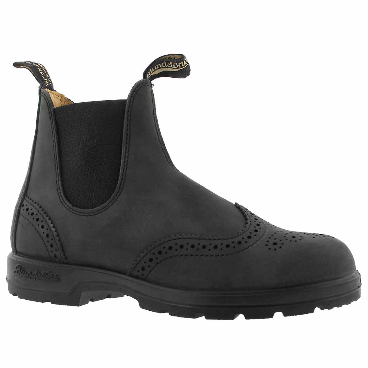 Unisex 1472 BROGUE rustic black twin gore boots